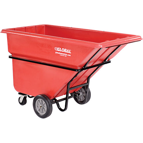 Deluxe Red Extra Heavy Duty Plastic Tilt Truck 1 Cu. Yd. & 2100 Lb. Cap. by