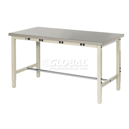"48""W x 30""D Production Workbench with Power Apron Stainless Steel Square Edge... by"