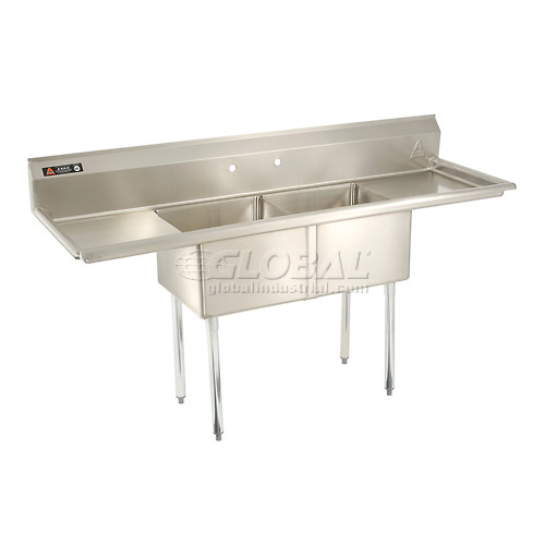 "Aero Two Bowl SS sink 18 x 18 with 16-1/2"" Right & Left Sided Drainboard by"
