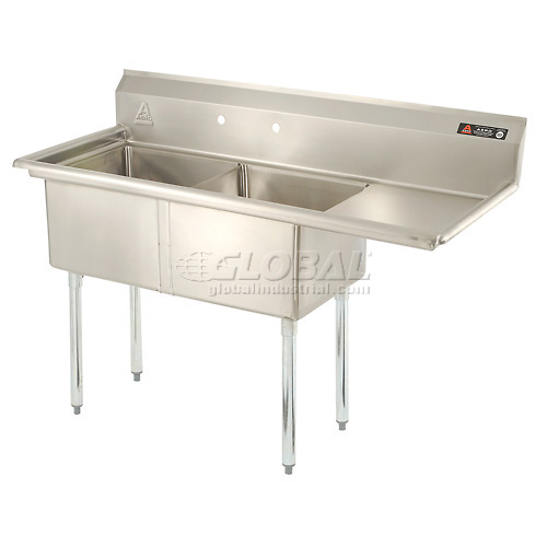 "Aero Two Bowl SS sink 18 x 18 with 16-1/2"" Right Sided Drainboard by"