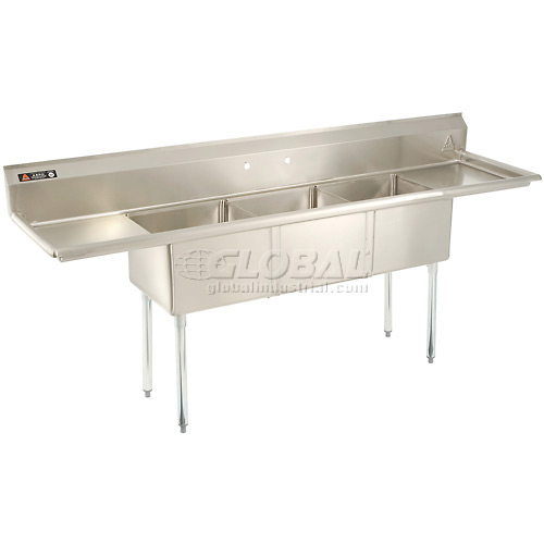 "Aero Three Bowl SS sink 18 x 18 with 24"" Right and Left Side Drainboard by"