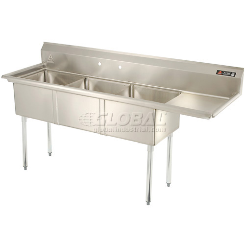 "Aero Three Bowl SS sink 18 x 18 with 16-1/2"" Right Side Drainboard by"