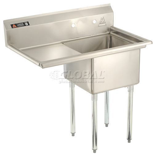 "Aero One Bowl SS sink 18 x 18 with 16-1/2"" Left Side Drainboard by"