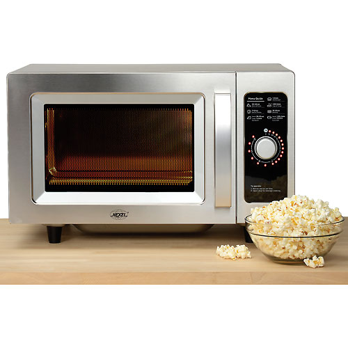 NEXEL Commercial Microwave Oven, 0.9 Cu. Ft., 1000 Watts, Dial Control, Stainless Steel by