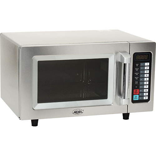 NEXEL Commercial Microwave Oven, 0.9 Cu. Ft., 1000 Watts, Touch Control, Stainless Steel by