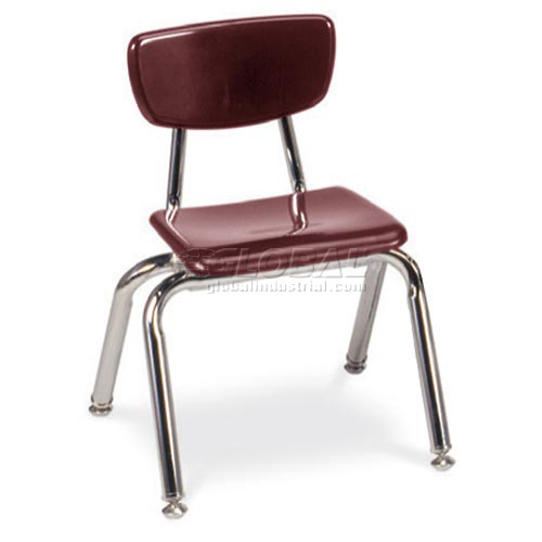 Virco 3012 Martest 21 Hard Plastic Chair Burgundy Package Count 4 by