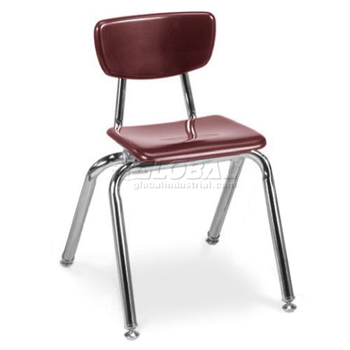 Virco 3014 Martest 21 Hard Plastic Chair Burgundy Package Count 4 by