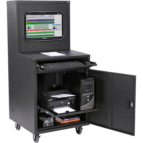 Click here to buy Deluxe LCD Industrial Computer Cabinet Black Unassembled.