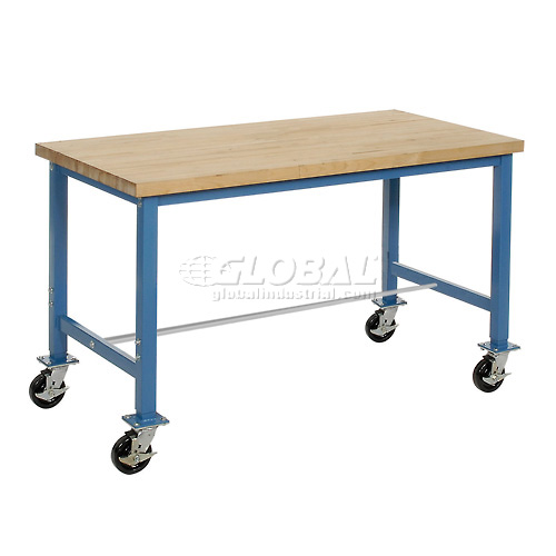 60 x 24 Maple Square Edge Packaging Bench with Caster Kit by
