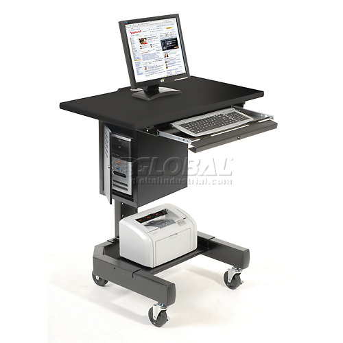 "Mobile Computer Cart, 27""W x 24-1/2""D x 41""H, Black by"