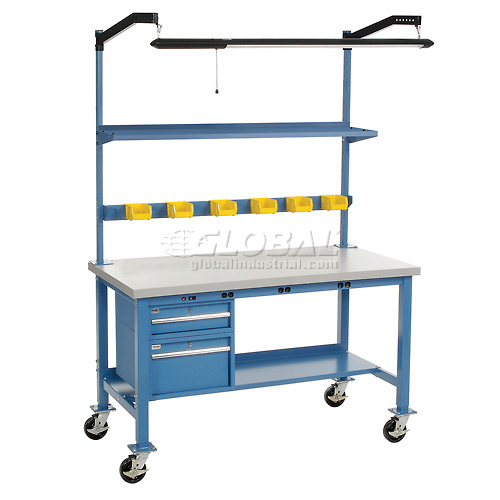 "72""W x 30""D Mobile Production Workbench with Power Apron Plastic..."