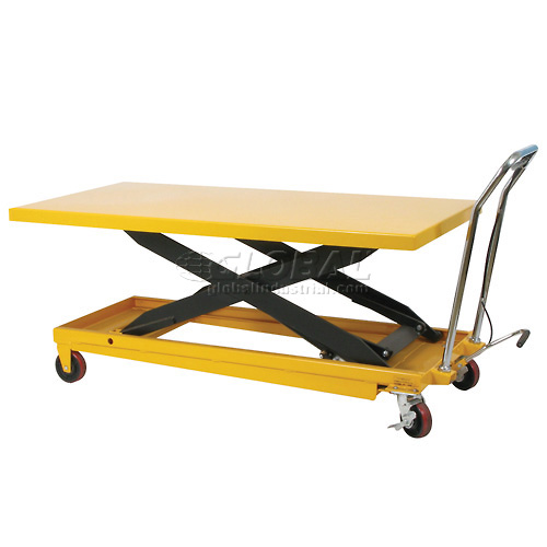 Wesco Long Deck Mobile Scissor Lift 273261 with Oversized 63 x 32 Table Top 1100 Lb. by