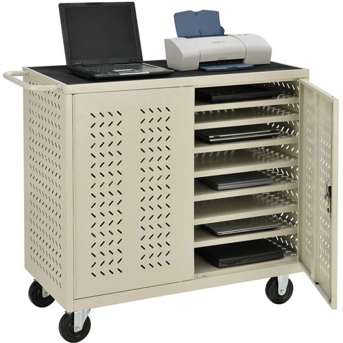 Mobile Storage & Charging Cart for 24 Laptop & Chromebook and Tablets, Putty, Unassembled by