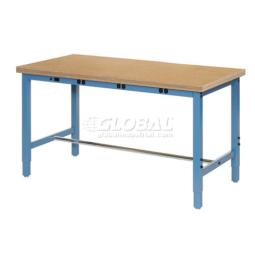 "48""W x 30""D Production Workbench with Power Apron Shop Top Square Edge Blue by"