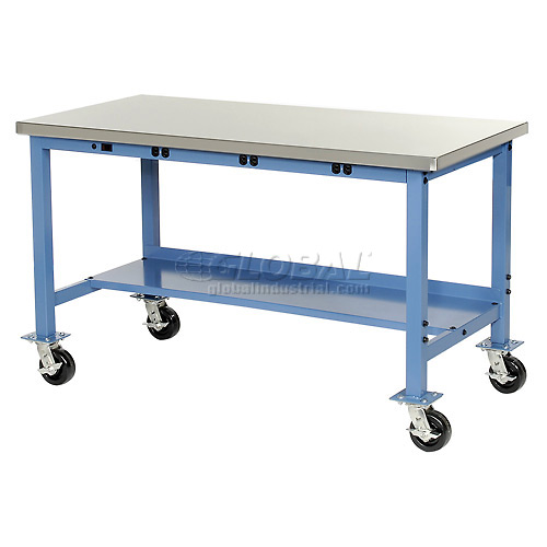 60X30 Stainless Square Edge Mobile Power Apron Lab Bench-Blue