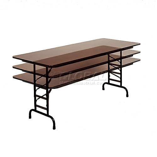 """Correll Adjustable Height Folding Table Laminate 30"""" x 72"""" Walnut by"""