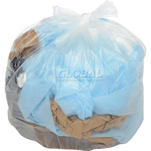 Global Medium Duty Natural Trash Can Liners 40 to 45 Gallon, 14 Mic, 250/Case by