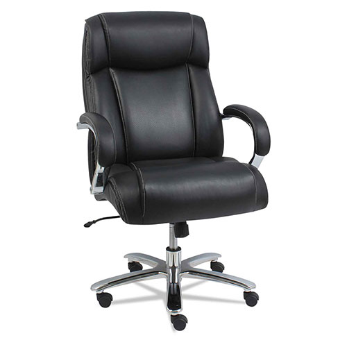 Alera Big and Tall Leather Chair Black/Chrome Maxxis Series by