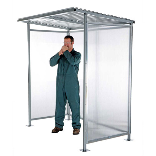 "Click here to buy Bus Smoking Shelter Flat Roof With Three Sided Open Front 75-1/4""W x 49-5/16""D x 83-15/16""H."