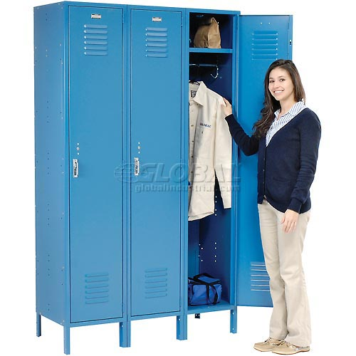 Extra Wide Single Tier Locker 15x18x72 3 Door Pull Latch Assembled Blue by