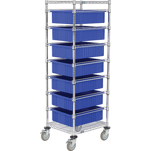 "21X24X69 Chrome Wire Cart With 7 6""H Grid Containers Blue by"