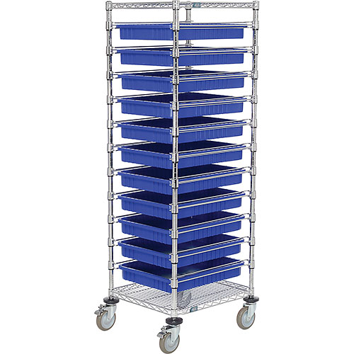 "21X24X69 Chrome Wire Cart With 11 3""H Grid Containers Blue by"