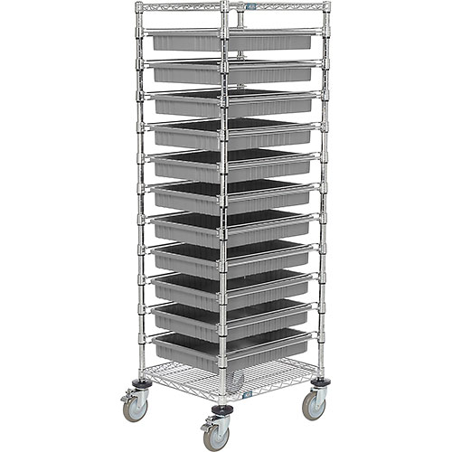 "21X24X69 Chrome Wire Cart With 11 3""H Grid Containers Gray by"