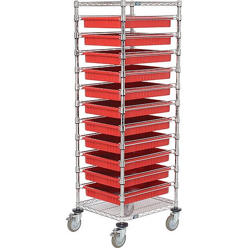 "21X24X69 Chrome Wire Cart With 11 3""H Grid Containers Red by"