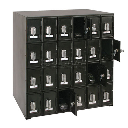 "24 Doors Cell Phone Locker 22""W x 16""D x 26""H Black with Tumbler Combo Locks by"
