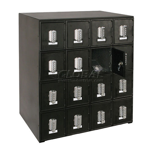 """16 Doors Cell Phone Locker 22""""W x 16""""D x 26""""H Black with Tumbler Combo... by"""