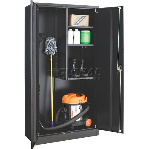 Global Janitorial Cabinet Easy Assembly 36x18x72 Black by