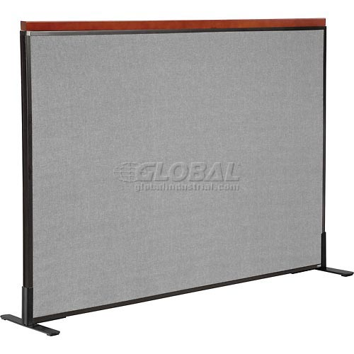 "Deluxe Freestanding Office Partition Panel, 60-1/4""W x 43-1/2""H, Gray by"
