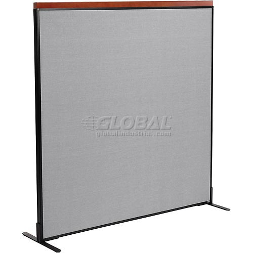 "Deluxe Freestanding Office Partition Panel, 60-1/4""W x 61-1/2""H, Gray by"