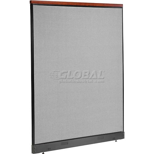 "Deluxe Office Partition Panel with Pass Thru Cable, 60-1/4""W x 77-1/2""H, Gray by"