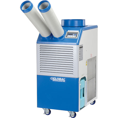 Click here to buy Industrial Portable Air Conditioner 1.5 Ton w/ Cold Air Nozzles 16,800 BTU, 115V.