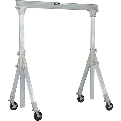 Click here to buy Global IndustrialAluminum Gantry Crane KD, Adj. Height, 2000lb Load Cap, I Beam Width 10ft.
