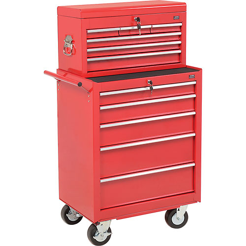 "Global 27"" 5-Drawer Roller Tool Cabinet W/Ball Bearing Slides & 27"" Top Tool Chest Combo, Red by"