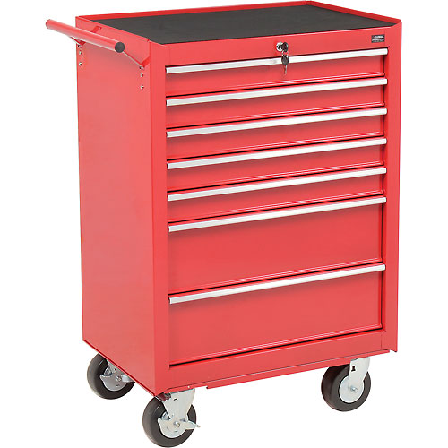 "Global Industrial 27"" 7-Drawer Roller Tool Cabinet W/ Ball Bearing Slides Red by"