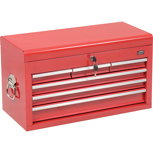 """Global Industrial 27"""" 6 Drawer Tool Chest W/ Clamshell Lid Red by"""