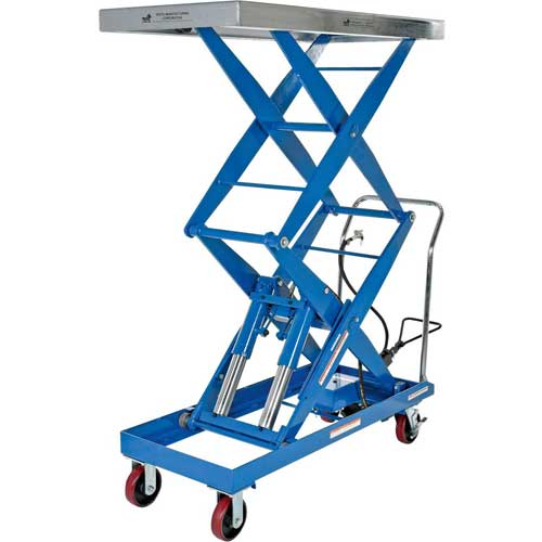 Vestil Pneumatic-Hydraulic Mobile Scissor Lift Table AIR-1500-D 1500 Lb. Cap. by