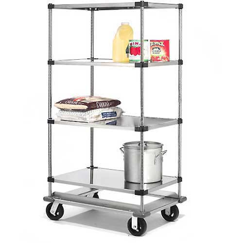 Nexel Stainless Steel Shelf Truck with Dolly Base 48x18x93 1600 Lb. Cap. by