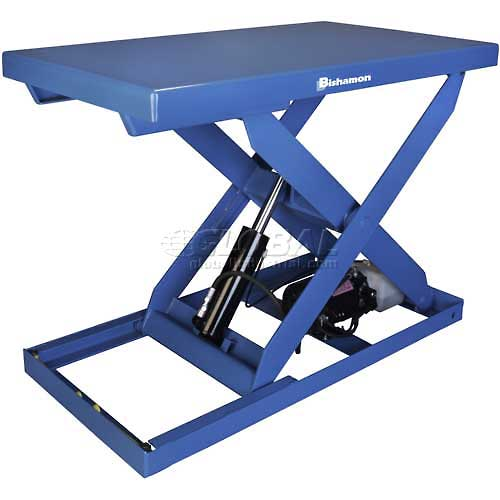 Bishamon OPTIMUS Lift2K Power Scissor Lift Table 48 x 36 2000 Lb. Cap. Foot Control L2K-3648 by