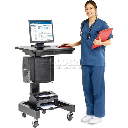 "Medical Computer Cart, 27""W x 24-1/2""D x 41""H, Black by"