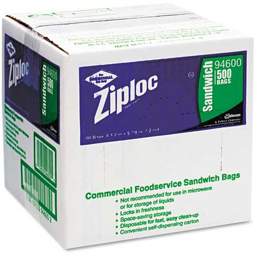 "ZIPLOC Resealable Sandwich Bags 6-1/2"" x 6"" 1.2 Mil Clear 500 Pack by"