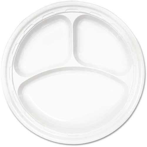 """Click here to buy Dart Famous Service Plastic Dinnerware, Plate, 3-Comp, 10 1/4"""", White, 125/Pack."""
