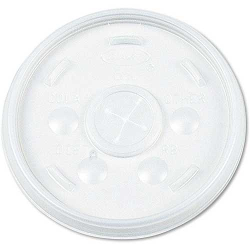 Dart Plastic Lids, for 32 Oz. Hot/Cold Foam Cups, Straw Slotted Lid by