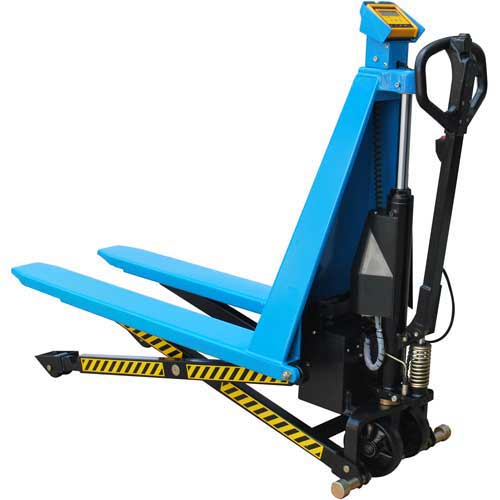 Electric High Lift Skid Jack Truck with Scale 3000 Lb. Cap. by