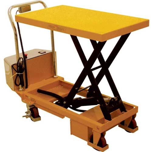 Wesco Battery Powered Lift Scissor Lift Table 273710 660 Lb. Capacity by