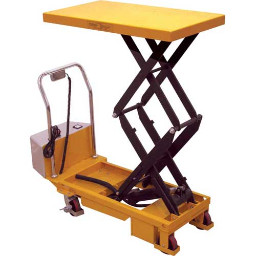 Wesco Battery Powered Lift Double Scissor Lift Table 273713 770 Lb. Capacity by