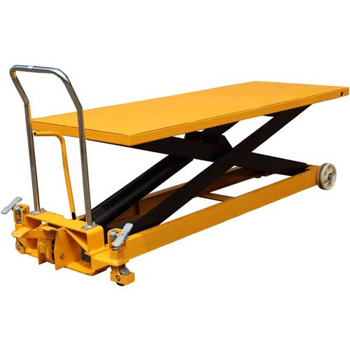 Wesco Long Deck Mobile Scissor Lift 273230 with Oversized 80 x 30 Table Top 2200 Lb. Capacity by